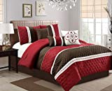 JBFF 7 Piece Collection Bed in Bag Luxury Stripe Microfiber Comforter Set, King, Burgundy