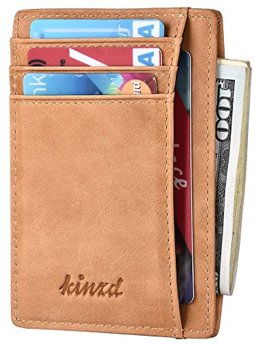 Slim Wallet RFID Front Pocket Wallet Minimalist Secure Thin Credit Card Holder (Oil Wax Leather Yellow) ()