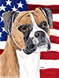 Caroline's Treasures SC9113CHF USA American Flag with Boxer Canvas House Flag, Large, Multicolor
