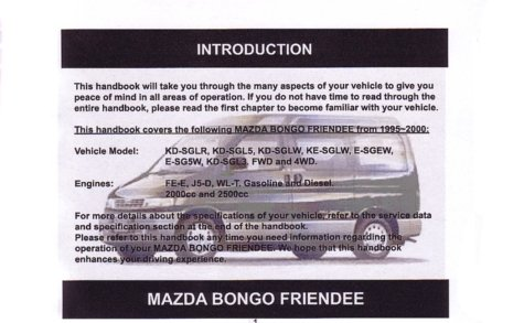mazda bongo friendee 95 00 owners handbook amazon co uk rh amazon co uk Mazda CX-9 Mazda SUV