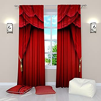 Red Curtains Collection By Factory4me Theater Scene Window Curtain Set Of 2