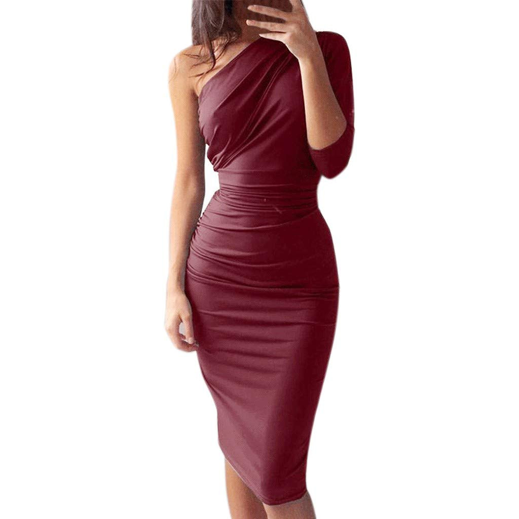 Womens One Off Shoulder Midi Dress Long Sleeve Stretchy Sexy Ruched Pencil Dress Sleeveless Choker Bodycon Dress Wine Red