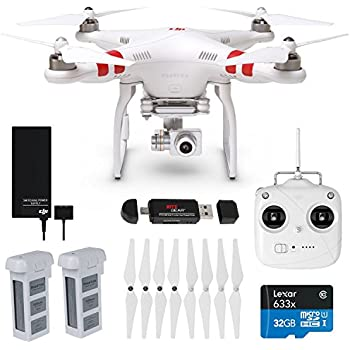 DJI Phantom 2 Vision+ V3.0 Quadcopter with Gimbal-Stabilized 14MP, 1080p Camera + Extra Battery and a 32GB microSDHC Memory Card plus Reader