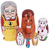 EVINIS Cutie Lovely Grandma and Animals Nesting Dolls Matryoshka Madness Russian Doll Popular Handmade Kids Girl Gifts Toy(Set of 6)