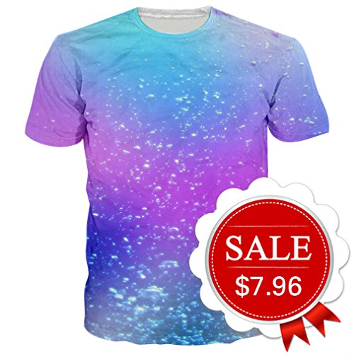 Goodstoworld Unisex Colorful Bubbles Power and Grace Adult Crew-Neck T-Shirt Short Sleeve Tops Tees