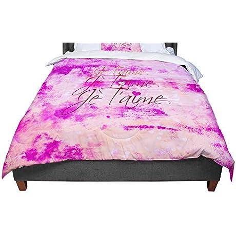 KESS InHouse Ebi Emporium Je T Aime Pastel Grundge Queen Comforter 88 X 88