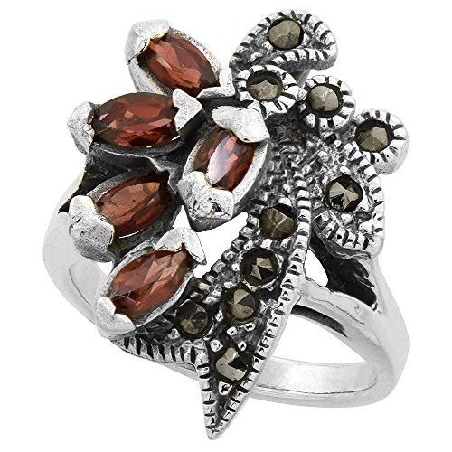 Sterling Silver Marcasite Ribbon (Sterling Silver Marcasite Ribbon Ring, w/ Natural Garnet, 1 inch (25 mm) wide, size 8)