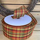 """Holiday Cider Plaid Wired Ribbon - 2 1/2"""" x 50"""