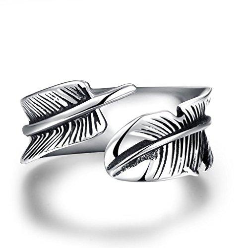 Focus Jewel Antique Athena Retro Unisex Chic Open Wrap Oxidized Feather Plume Quill Vintage Finger Ring