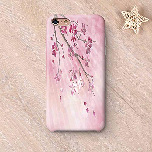 House Decor Frosted & Smooth Surface Compatible with iPhone Case,Illustration of Spring Tree Branch with Blossoms Sun Beams on Blurred Background Compatible with iPhone 7/8 Plus,iPhone 6 Plus / 6s pl