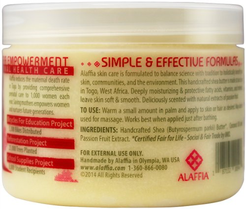 Alaffia - Everyday Shea - Pure Fair Trade Shea Butter, 11 Ounces 6 100% FAIR TRADE: Feel good about how you are getting your products with 100% Certified Fair Trade Ingredients. PURE AND SIMPLE: Made from pure African unrefined shea butter. PROTECT WITH FAIR TRADE INGREDIENTS: Deeply moisturizing & protective fatty acids, vitamins, and minerals, leave skin soft & smooth.