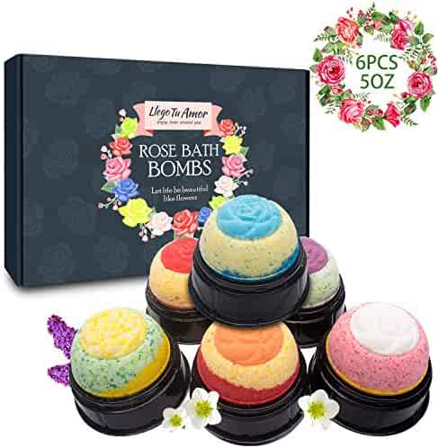 6x5Oz Luxury Bubble Bath Bombs with 3D Flower Design & Individual Packing Gift Set, Rich in Natural Rose Essential, Perfect Gift Idea for Women, Man, Girls