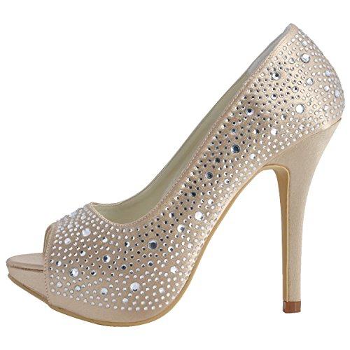 Vestir Beige Zapatos Elegantpark de de Mujer satén Champagne qawTU
