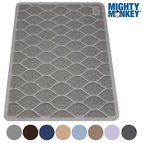 (MIGHTY MONKEY Premium Cat Litter Trapping Mat, Phthalate Free, Best Tracking Scatter Control for Cats, Jumbo XL, Mats Easy to Clean, Rugs Soft on Kitty and Cat)