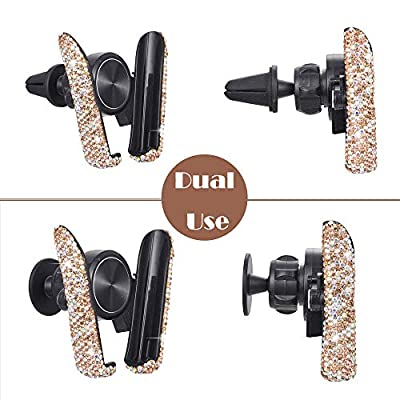 ATMOMO Gold Bling Crystal Car Phone Mount Universal Air Vent Car Phone Holder Dashboard Phone Mount Stand Holder: Automotive