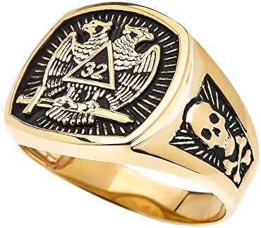 Men's 10k Yellow Gold Scottish Rite 32nd Degree Skull and Crossbones Masonic Ring