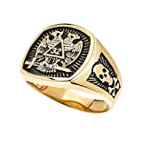 Men's 14k Yellow Gold Scottish Rite 32nd Degree Skull and Crossbones Masonic Ring (Size 8)
