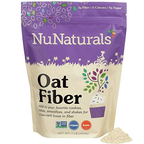 NuNaturals All Natural Oat Fiber, Non-GMO Certified, 155 Servings (1 lb)