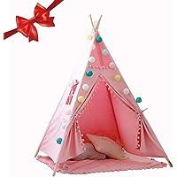 Lamptti Enfants Teepee Tente de Jeu–Maison pour Enfant Indien Tente de Jeu avec Tapis de Sol–Toile 100% Coton Princesse Filles Tente pour intérieur et extérieur pour Enfants garçons Filles
