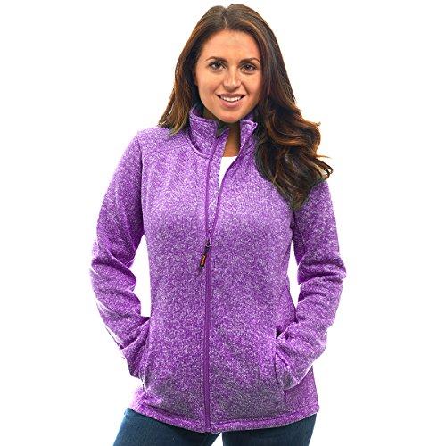 Womens Unique Speckled Zip up Knit Sweater Fleece Jacket-All Season Heather Cardigan ()