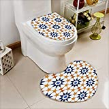 also easy 2 Piece Toilet Cover set seamless tile pattern of islamic style in Bathroom Accessories