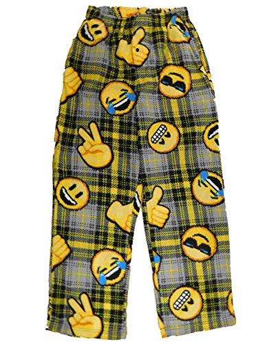 (Mens Gray/Yellow Plaid Fleece Emoji Smiley Face Sleep Pants Pajama Bottoms M)