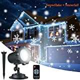 Christmas Snowflake Projector Lights, ALOVECO Rotating LED Snowfall Projection Lamp with Remote Control, Outdoor Waterproof Sparkling Landscape Decorative Lighting for Holiday Halloween Xmas Party