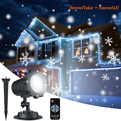 (Christmas Snowflake Projector Lights, ALOVECO Rotating LED Snowfall Projection Lamp with Remote Control, Outdoor Waterproof Sparkling Landscape Decorative Lighting for Holiday Halloween Xmas Party)