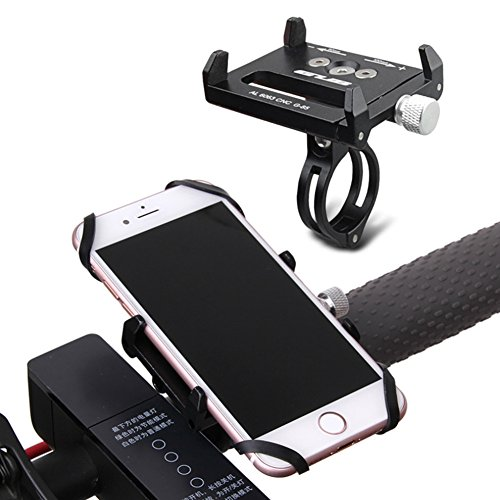 GUB Bike Phone Mount Bike Holder,Bicycle & Motorcycle Handlebar Metal Cradle,360 Degree Rotation Universal Adjustable with Silicone Band Fit for iPhone X/8/7s/7,Samsung S8/S7/S5(Black with Band)