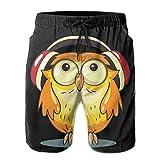Men Board Shorts Owl Love Music Summer Quick Dry Swim Trunk Drawstring Surf Swimwear