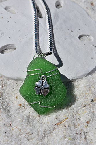 Green Sea Glass Pendant with a Silver Shamrock Charm Necklace on a Sterling Silver Box (Genuine Beach Glass Necklace)