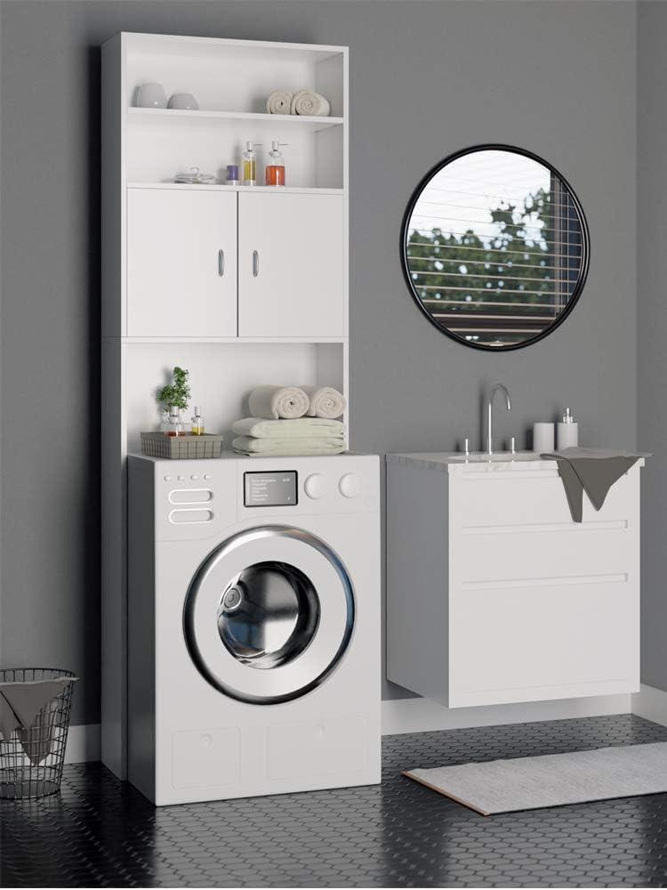 Deuba Armario Alto Lavadora Mueble para baño Blanco 195x63x20cm Altura Lavadora máx 9 cm 3 estantes 2 Puertas almacenaje