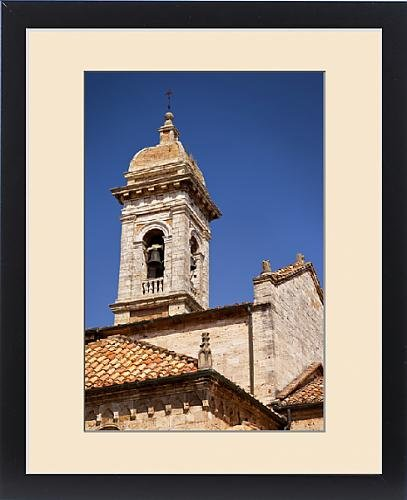 Framed Print of Bell tower of Sant Maria Assunta Church in San Quirico, Val d Orcia by Fine Art Storehouse