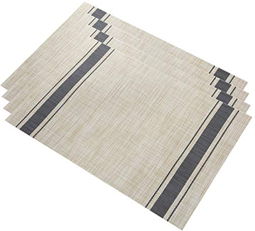 HomeyHo Placemat Nonslip Table Placemat Waterproof Non-Slip Placemats for Dining Table Mat Heat Resistant Table Mat Vinyl Clear Placemats for Dining Table Navy ()