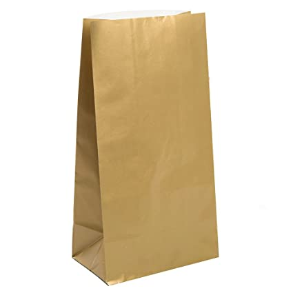 amazon com metallic gold paper favor bags 10ct gift wrap bags