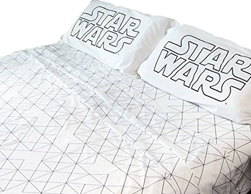 Classic STAR WARS Logo 4pc KING Size 100% COTTON Sheet Set