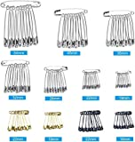 HQDeal 500PCS Assorted Safety Pins, 7 Size Metal