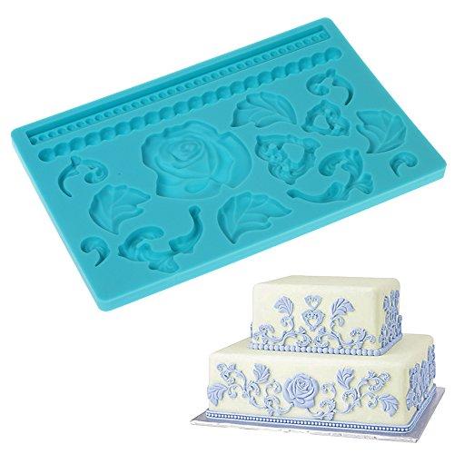Fondant Cake Decoration with Flower Leaf Pattern Lace Molds Silicone Baking Mat size 7.8