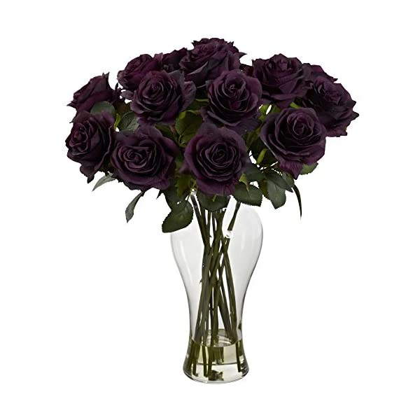 Nearly-Natural-Blooming-Roses-with-Vase-Purple-Elegance