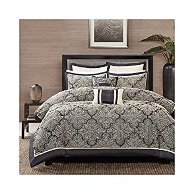 Madison Park MP10-1663 Medina 8Piece Jacquard Comforter Set Cal King , Black, Cal King,Black,Cal King