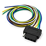5 wire trailer harness - TIROL 5-Way Flat Trailer Wire Harness Extension Connector Socket with 36 inch Cable Length End Connector