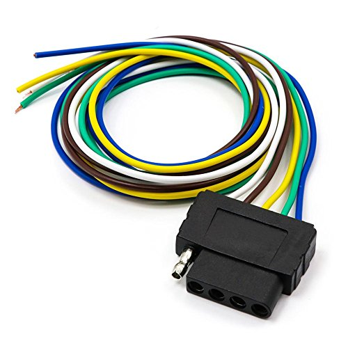 TIROL 5-Way Flat Trailer Wire Harness Extension Connector Socket with 36 inch Cable Length End ()