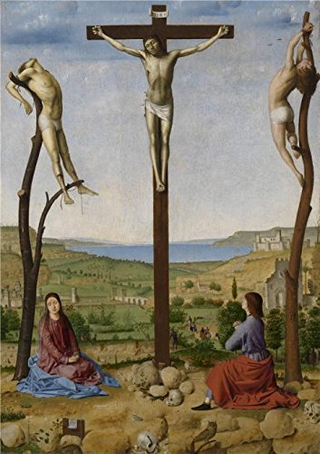 The Perfect Effect Canvas Of Oil Painting 'Calvary,1475 By Antonello Da Messina' ,size: 18x26 Inch / 46x65 Cm ,this Cheap But High Quality Art Decorative Art Decorative Prints On Canvas Is Fit For Kitchen Artwork And Home Decoration And Gifts (Oz Park Chicago Halloween)