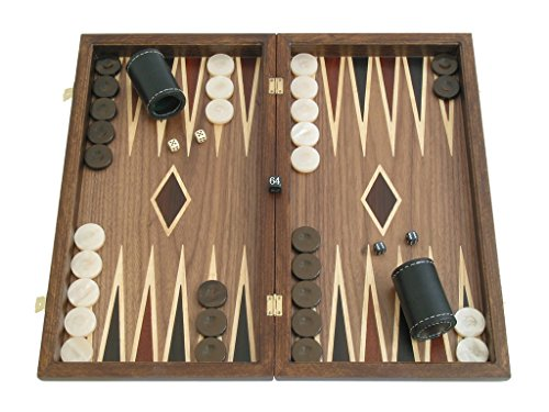 (Neroulia Greek Walnut Backgammon Set with Double Inlays - 19