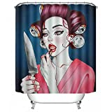 POPS AMERICA Bath Curtains 60'' X 72'' - Knife Mirror Goth Gotik Gothic Women Girl Make up Art Shower Curtain Liner - Waterproof Polyester Fabric Bathroom Decor Set 12 Hooks