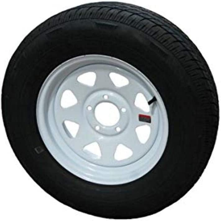 "Wheels Express Inc 15"" White Spoke Trailer Wheel with Radial ST205/75R15 Tire Mounted (5x4.5) Bolt Circle"