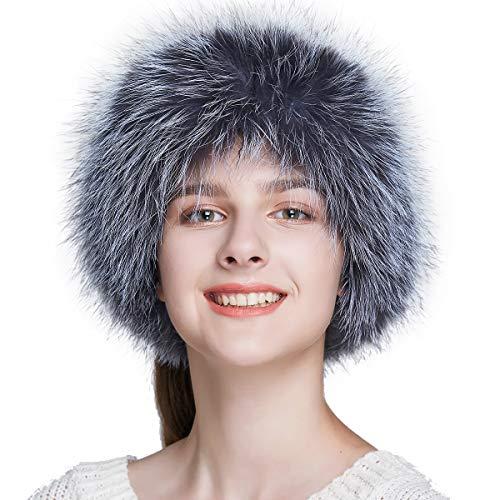 Silver Fur (ENJOYFUR Women Headband Fox Fur Headband Winter Earwarmer Earmuff (Silver Fox))