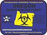 Oregon zombie hunting permit decal bumper sticker