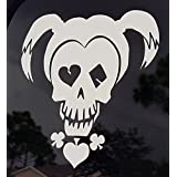 White Harley Quinn Skull Girl Car Decal Sticker (cars, laptops, windows) - (Suicide Squad Inspired)