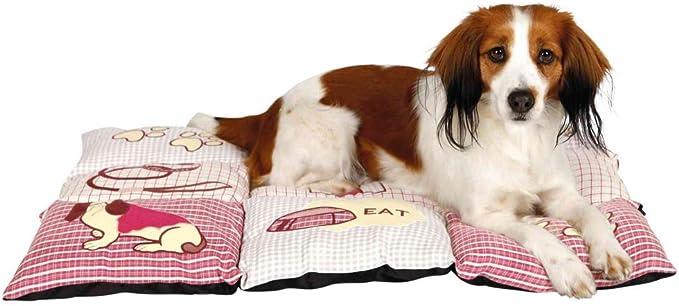 Trixie Colchoneta para Perros Mascotas - Alfombra para Perros Manta para Mascotas Cojin para Perros Cálida Protección Patchwork 80 × 55 cm Beige Rojo: Amazon.es: Productos para mascotas